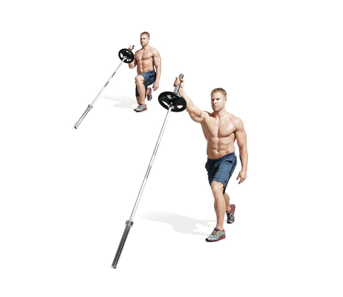 101 best workouts the best barbell only workout split squat to press 1