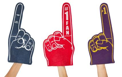 baseball fans wearing foam fingers