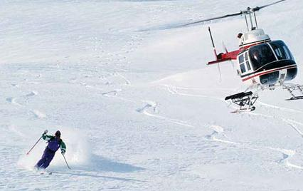 helicopter mountain skier