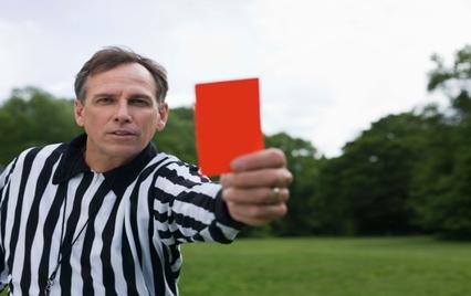 Referee gives red card