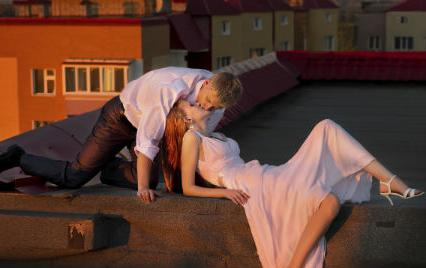 sexy rooftop couple