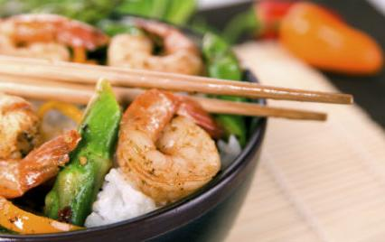 shrimp stir fry with chopsticks