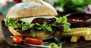 Healthy burger with salad