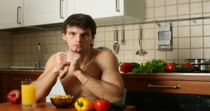 Man eats healthy breakfast