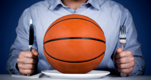 Man with basketball on plate
