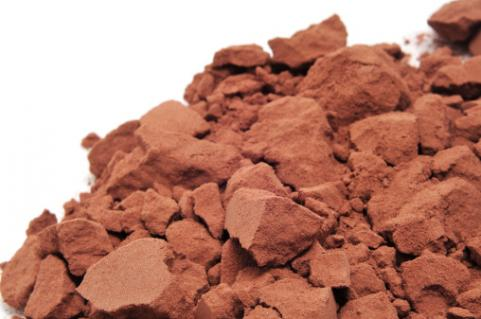 Chunks of cocoa powder