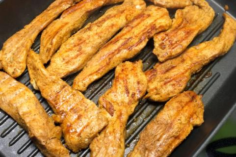 Chicken strips on the grill