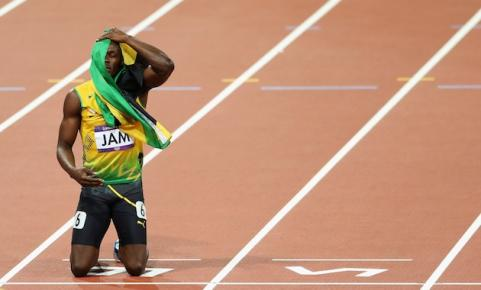 Usain Bolt on the track