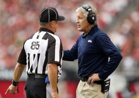Seahawks coach Pete Carroll with NFL Referee