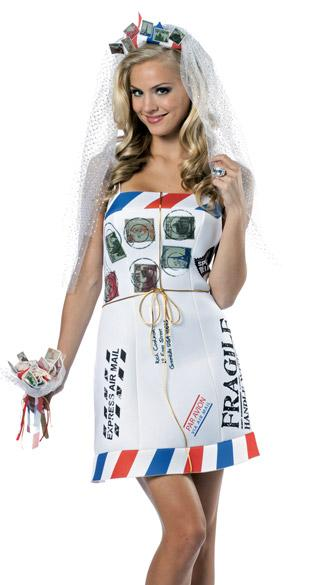 Woman in mail order bride costume