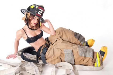Girl in firefighter uniform