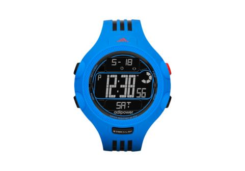 Blue Adidas AdiPowerTR watch on white background