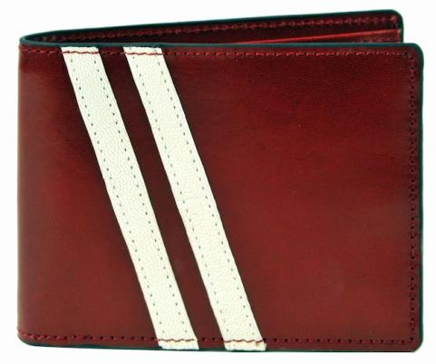 Red and white wallet
