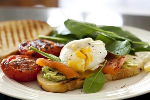 avocado toast with poached egg and salmon