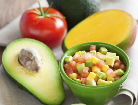 bowl of avocado mango salsa