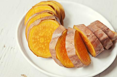 baked sliced sweet potato