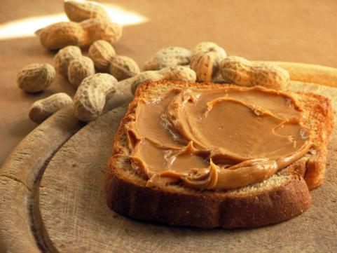 peanut butter on whole-wheat bread