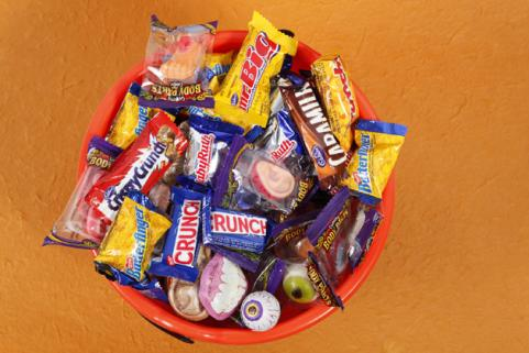 bucket of Halloween candies