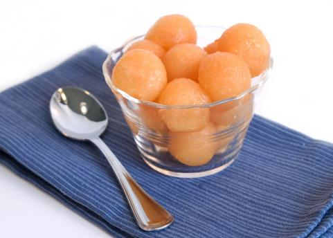 Cantaloupe melon balls in a small dish