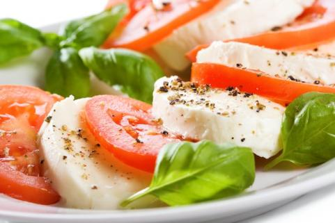 Caprese salad with tomatoes, mozzarella, and basil