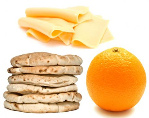 Whole wheat pita with cheese &amp; orange