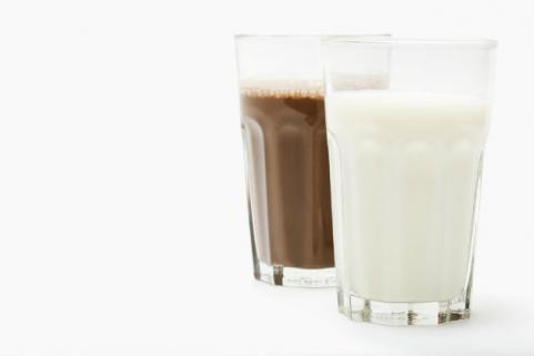 glasses of chocolate and regular milk