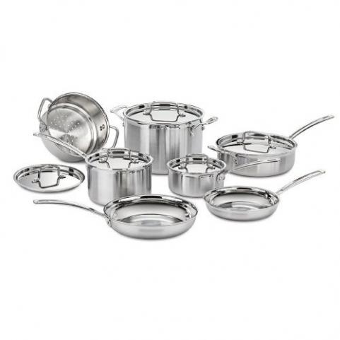 Cuisinart Multiclad Pro Tri-Ply Stainless Steel Cookware 12 Piece Set