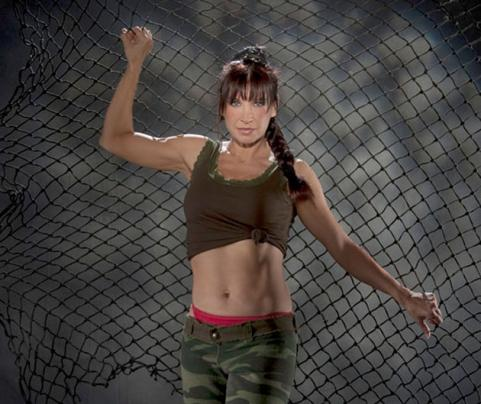 Cynthia Rothrock shows off her abs