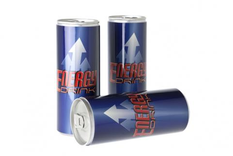 three energy drink cans