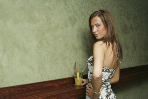 sexy european woman with cocktail