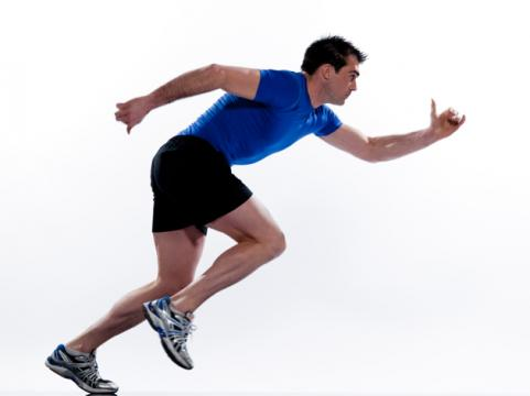 Man in running position