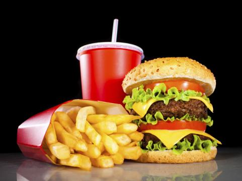 fast food value meal with burger and fries