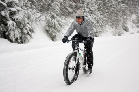 mountain biking in snow