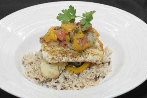 fish topped with citrus salsa
