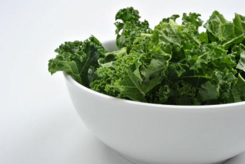 bowl of kale leaves