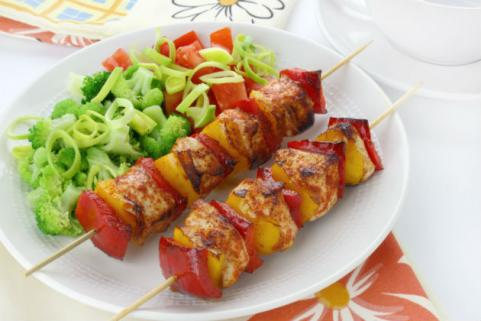 skewered chicken and vegetables