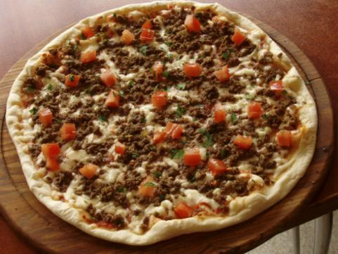 pizza with ground beef topping
