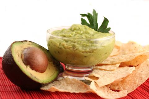 guacamole and avocado with tortilla chips
