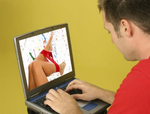 man watching porn on computer