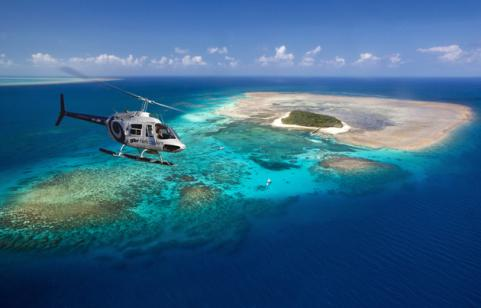 Helicopter Over The Great Barrier Reef, Australia