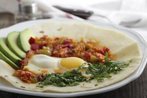 Huevos rancheros: eggs and salsa