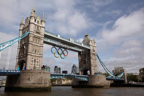 Olympic Rings Are Unveiled On Tower Bridge