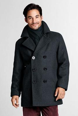 Lands End Regular Wool Pea Coat