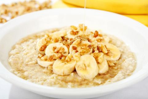 bowl of banana walnut oatmeal
