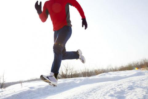 man running on snow