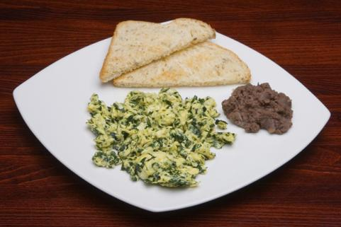 eggs scrambled with greens