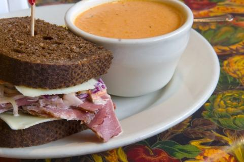 Sandwich with cup of soup