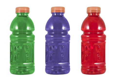 three bottles of sports drinks