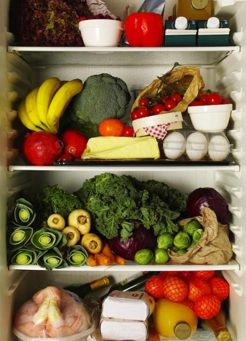 Refrigerator filled with healthy food