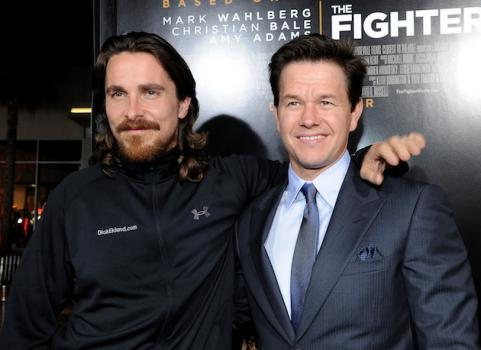 Mark Wahlberg and Christian Bale at premiere of The Fighter